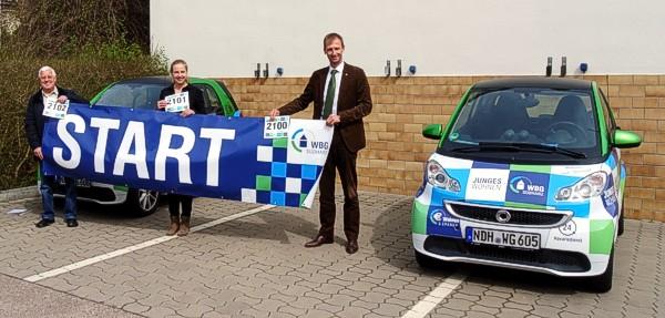 Von links: Wolfgang Heber (Org-Team Harztor-Lauf), Jennifer Pohl  (Bürgerservice Harztor) und Sven Dörmann (Vorstandsmitglieder der WBG Südharz). Foto: WBG Südharz